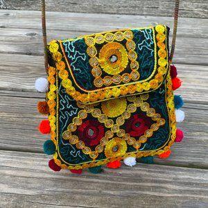 Cross Body Bag Multi color Embroidery Pom Pom Cute